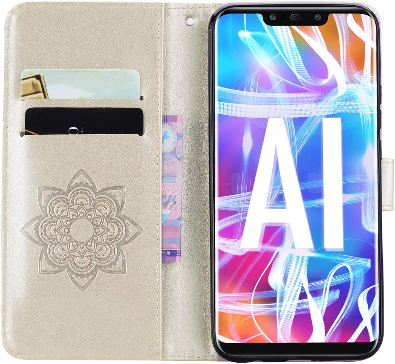 Herbests Compatible with Huawei Mate 20 Lite Wallet Case Glitter Bling Diamond Rhinestone Leather Flip Cover Embossed Mandala Flower Owl Design Protective Case Credit Card Holder,Gold