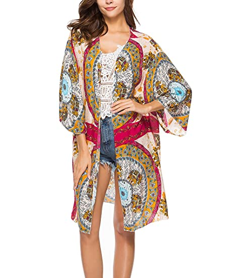 Pareos Playa Mujer Kimono Largos Verano Vintage Estampados Flores Boho Etnicas Estilo Bikini Cover Up Fiesta Estilo Elegantes Manga Larga Anchas Casual ...