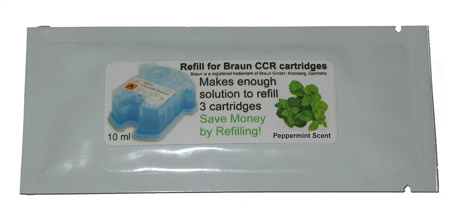 Refill Solution for Braun® Clean & Renew® CCR3 Shaver Cartridges (Peppermint, 2 Packets (6 refills)) CCRRefills