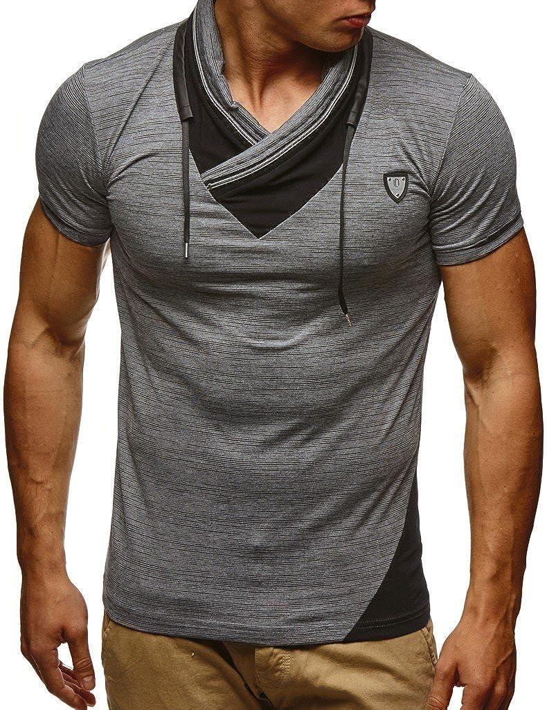 2afda3db01c8 LEIF NELSON Herren T-Shirt Sommer Modernes Kurzarm-Shirt Top Sweatshirt  Stehkragen Hoodie Sweater