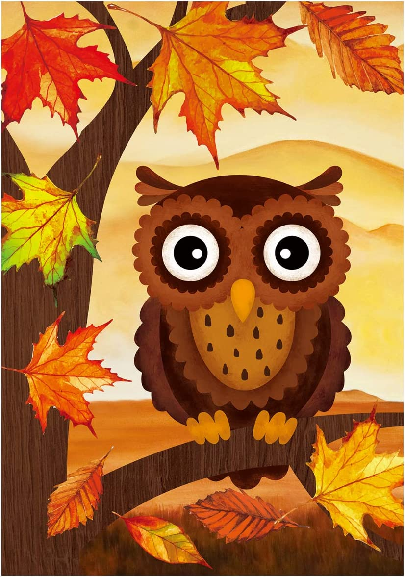 "Texupday Welcome Fall Owl Maple Leaves Decoration Double Sided Autumn Garden Flag Outdoor Yard Flag 12"" x 18"""