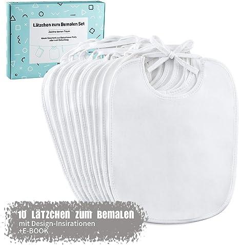 FUTURE FOUNDER Babero blanco para pintar, 10 baberos impermeables de algodón con eBook ideal para diseñar y pintar, regalo perfecto para fiesta de bebé: Amazon.es: Bebé