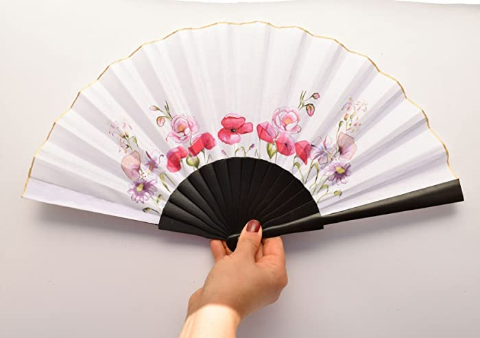HANDPAINTED HANDFAN/WEDDING FAN/BRIDE / BRIDAL HANDFAN