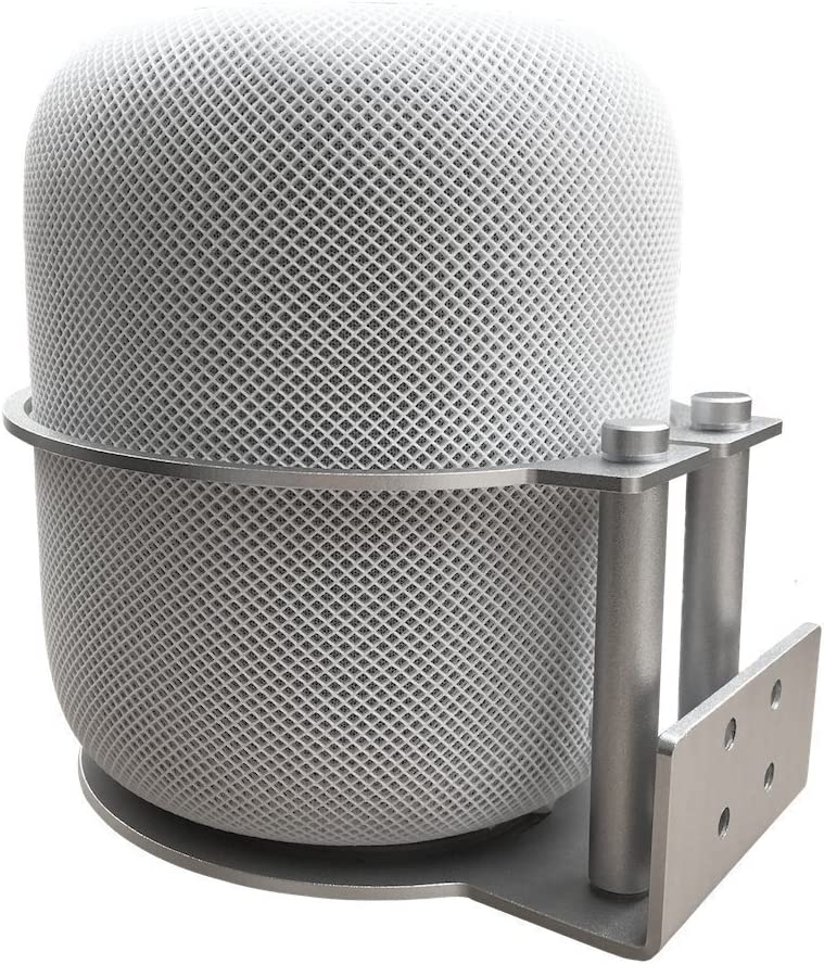 MERES Aluminum Wall Mount Holder Detachable Bracket Compatible with HomePod Speakers Metal Stand - Silver
