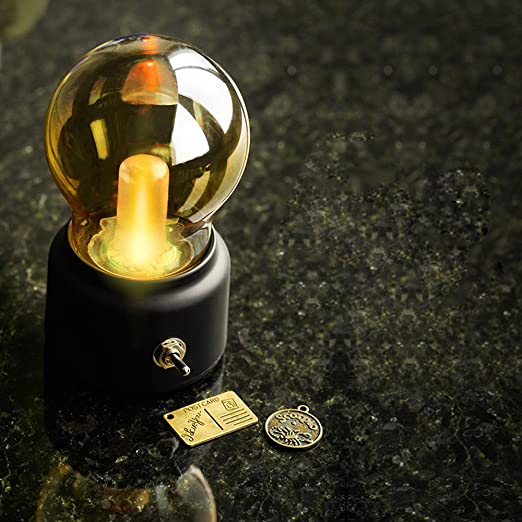 Acai Mini Bombilla De Luz Creativa De Noche De Cristal Inalámbrico LED con Pilas Luz De Noche Lámpara De Mesita De Noche De Escritorio Negro (Luz Cálida): Amazon.es: Hogar