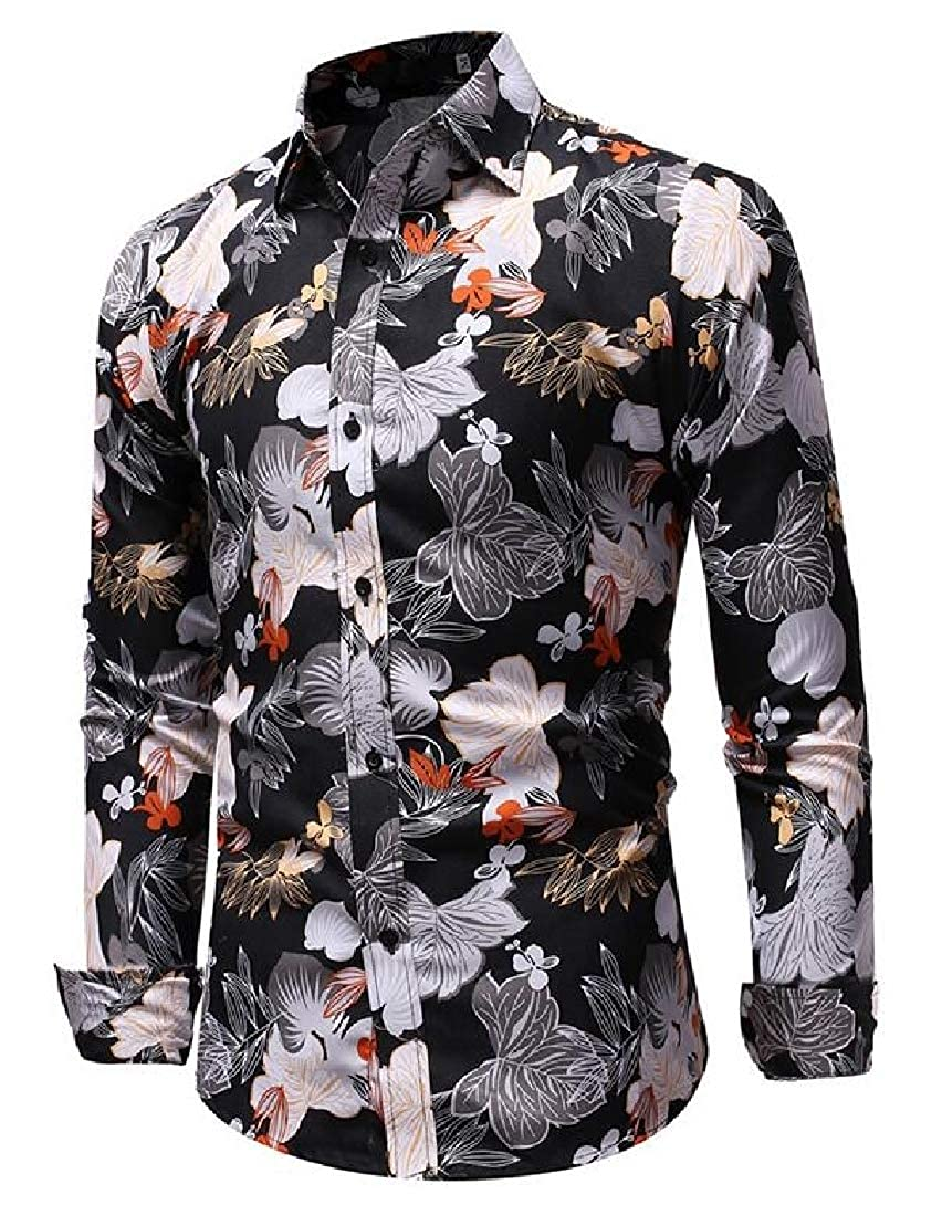 Fubotevic Mens Slim Long Sleeve Printed Casual Business Button Up Dress Shirt