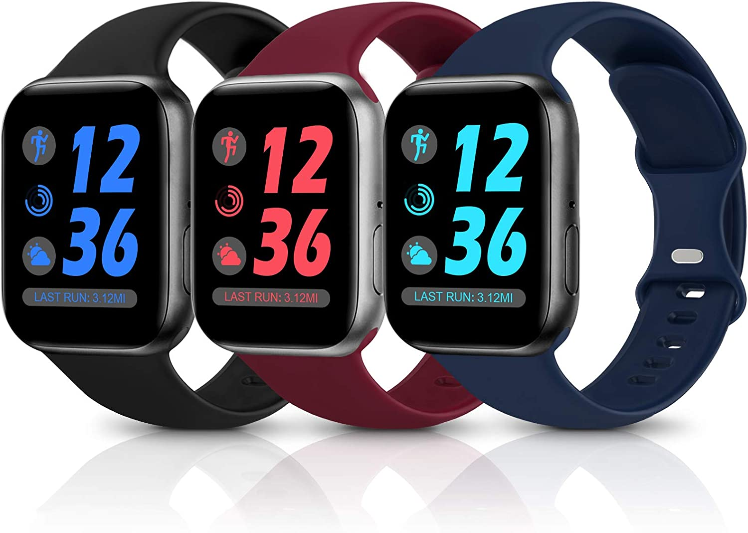 Sport Silicone Band Compatible with Apple Watch Bands 38mm 40mm 42mm 44mm,Soft Replacement Wristbands for iWatch Series 1/2/3/4/5/6/SE,Women Men,3 Pack(Black/Navy Blue/Wine Red,42mm/44mm-S/M)