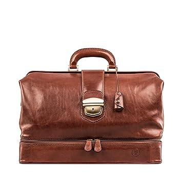 Maxwell Scott® Sacoche de docteur en cuir marron foncé de luxe (DonniniL) HXrcs