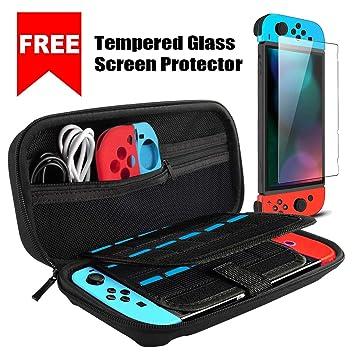 Ctrendu - Funda de Transporte para Nintendo Switch, Carcasa rígida, Funda de Transporte, Funda con Protector de Pantalla de Cristal Templado para ...