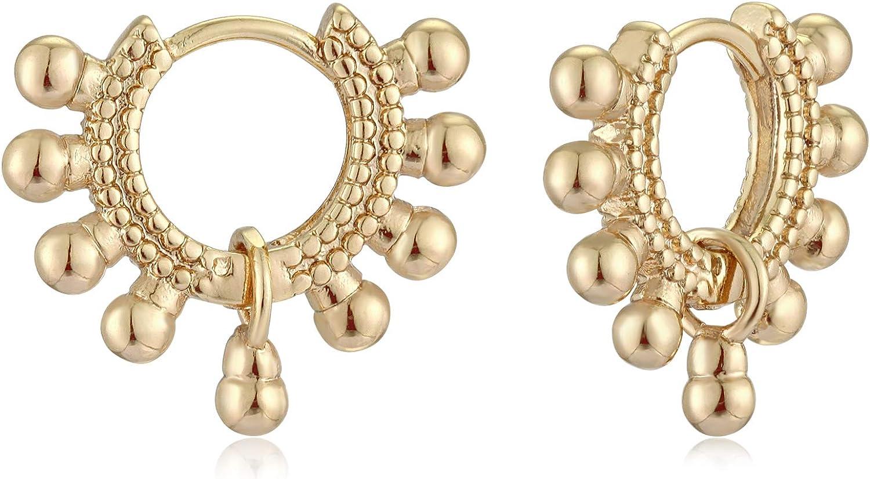 Mevecco Gold Dainty Huggie Hoop Earring,14K Gold Plated Cute Tiny Drop Ball Hoop Earrings for Women