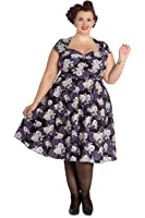 Hell Bunny Plus Rockabilly Love Rose and Purple Lace Sweetheart Party Dress