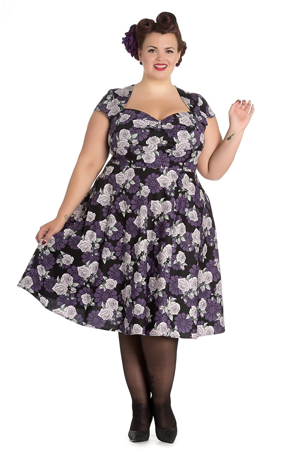 1950s Fashion Dresses:  Floral, Tropical, Tiki, Hawaiian Hell Bunny Plus Rockabilly Love Rose and Purple Lace Sweetheart Party Dress $89.95 AT vintagedancer.com