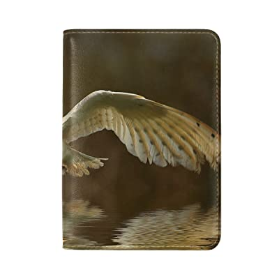 Animal Owl Barn Flying Walking Lightbrown Summer Natural Sport Leather Passport Holder Cover Case Travel One Pocket