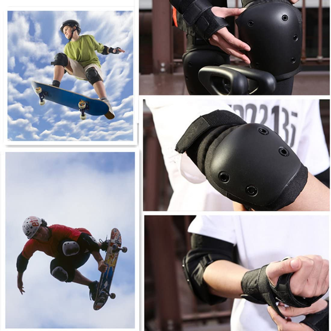 Elbow Pad Knee Support Wrist Guard and Helmet for Adult Skateboard Skating Blading Cycling Riding RuiyiF 7Pcs Adult Sports Safety Protective Gear Set