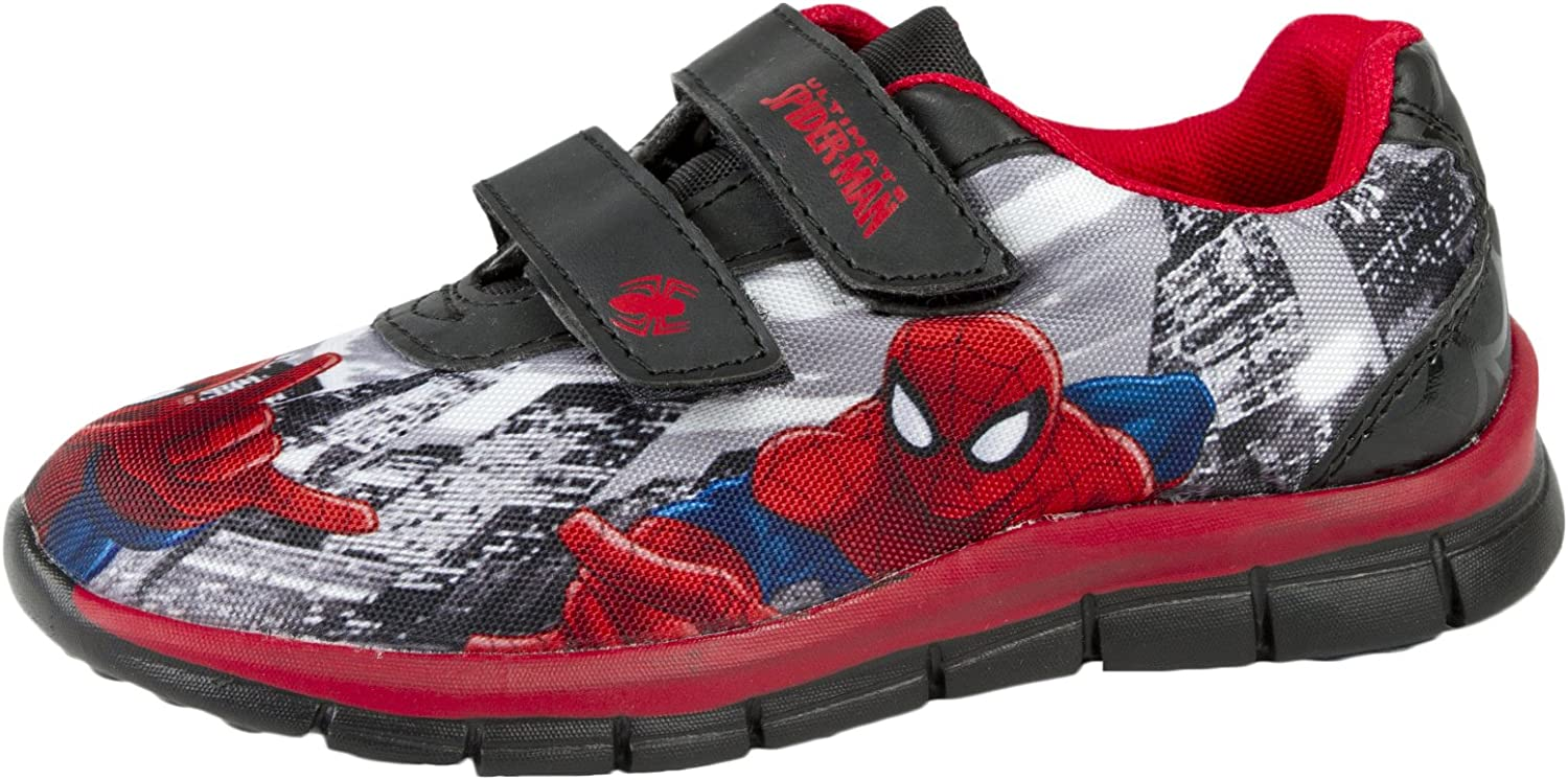 Marvel Boys Spiderman Hook /& Loop Slippers House Shoes