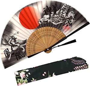 Zolee Folding Hand Fan for Women - Foldable Chinese Japanese Vintage Bamboo Silk Fan - for Hot Flash, Dance, Performance, Decoration, Party, Gift (Dragon & Phoenix) 09