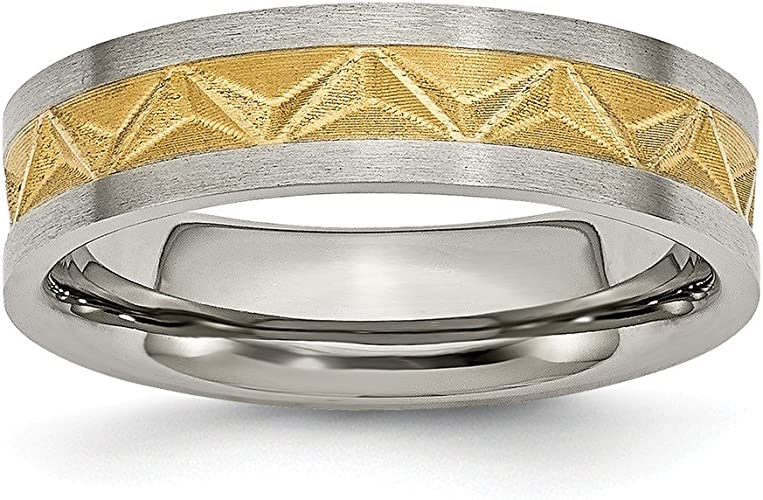 Top 10 Jewelry Gift Titanium Brushed and Yellow IP-plated Mens 8mm Band