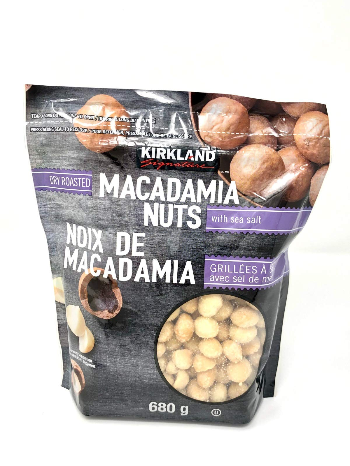 Kirkland Signature Dry Roasted Macadamia Nuts with Sea Salt, Resealable Bag (48 Ounce (Pack of 2, 24 OZ Each Pack)) by Kirkland Signature (Image #1)