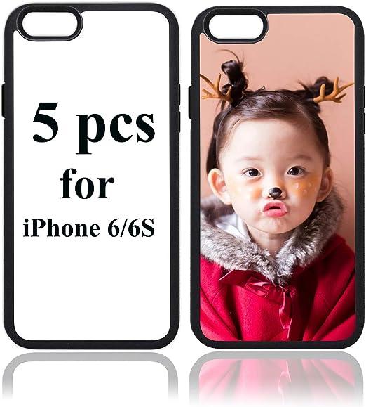 JUSTRY Lot de 5 coques de protection pour téléphone Apple iPhone 6 iPhone 6S 4,7 pouces - Sans impression pour sublimation DIY Sublimation - Coque ...