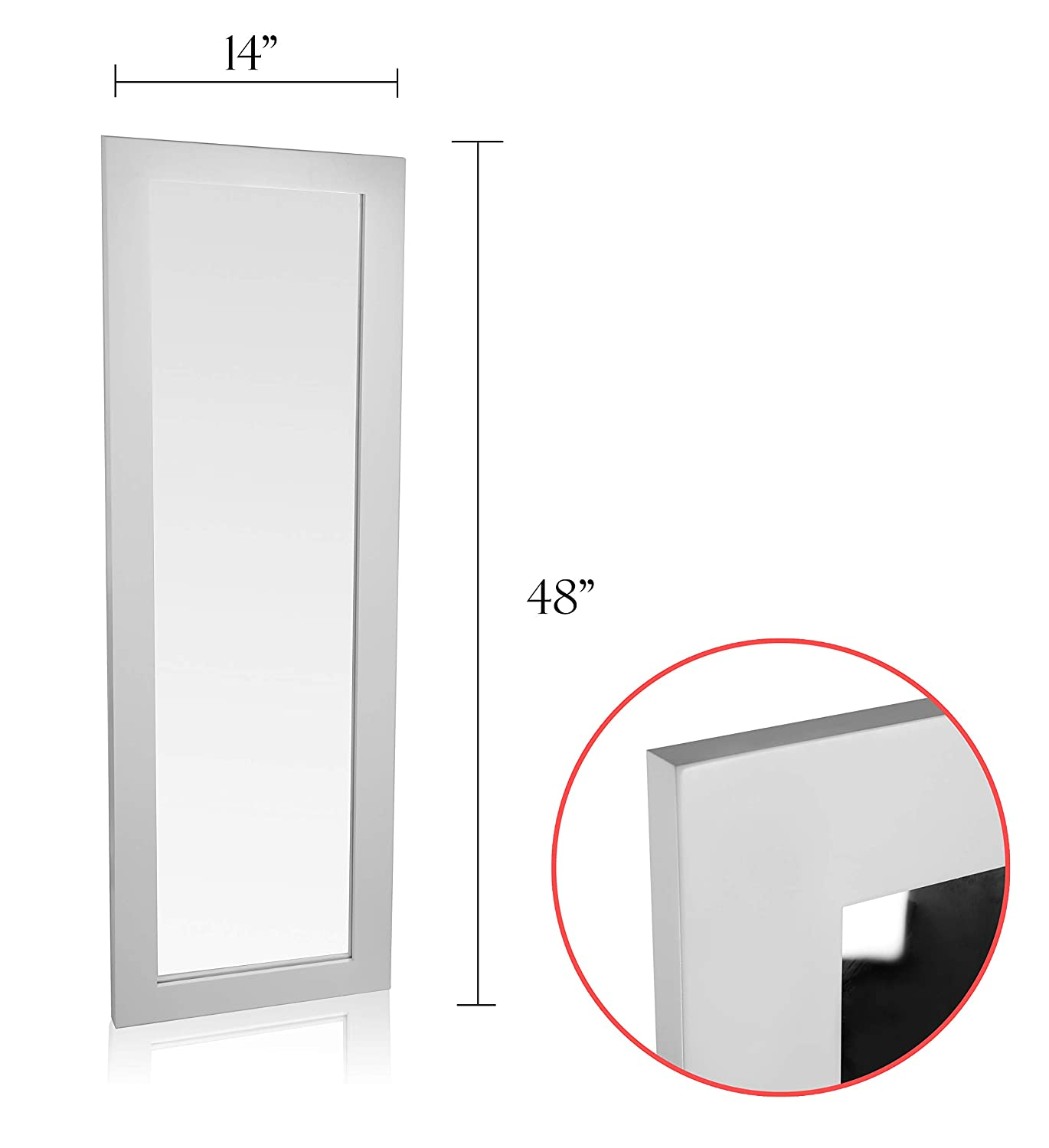 Organize City White Full Length Wall Mirror Over The Door Mirror Wall Rectangular with Installation and Instructions Included 14/'/' x 48/'/'