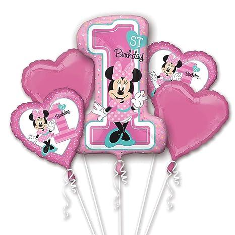 Amazon.com: Minnie Mouse 1er Cumpleaños Ramo de globos ...