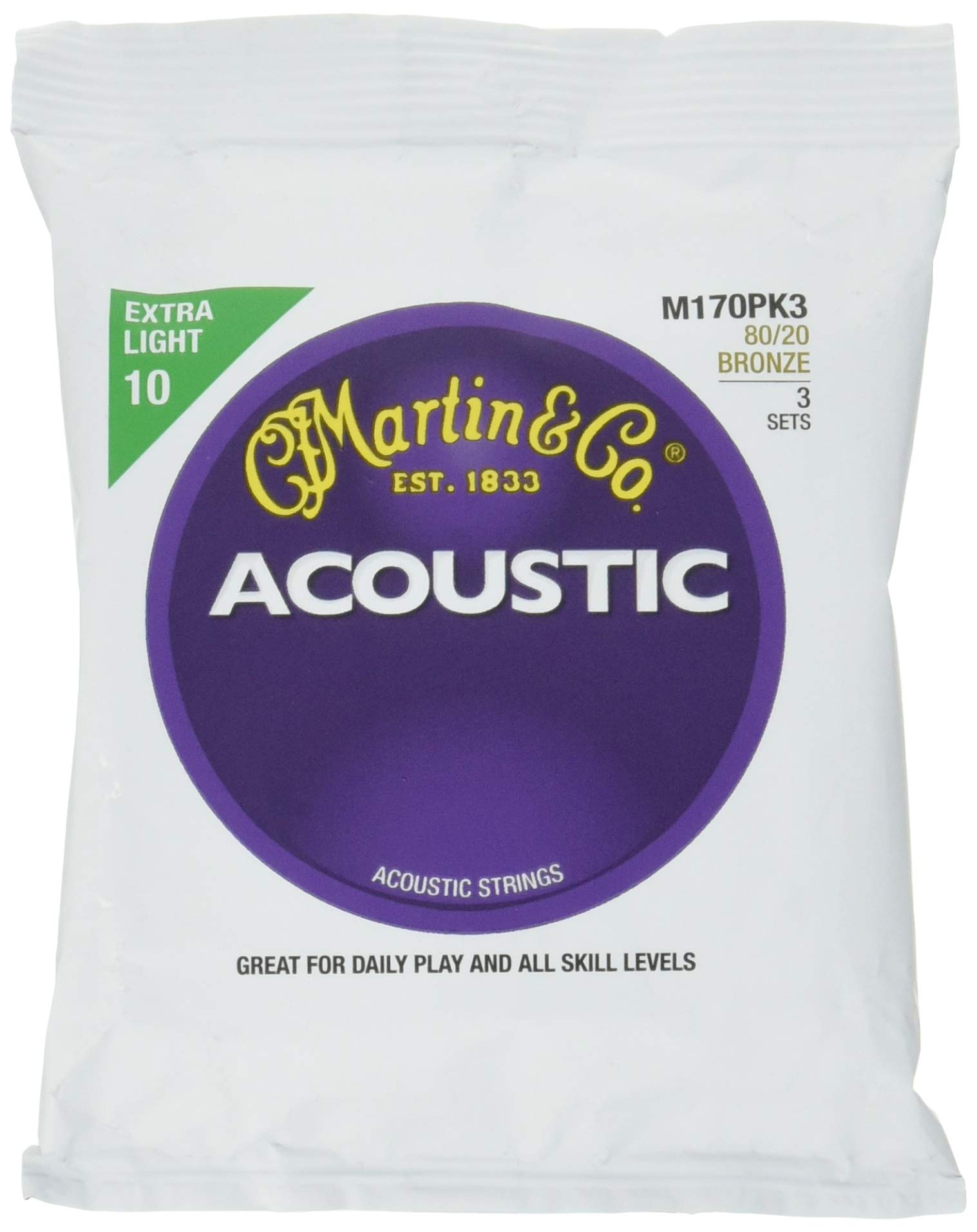 Martin M170 80/20 Bronze Acoustic Guitar Strings, Extra Light - 3 Pack with Picks by Martin