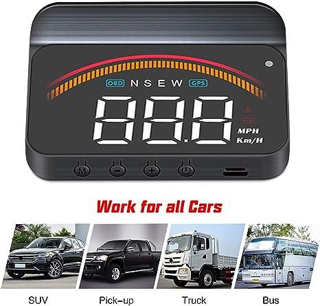 Car OBDII Speedometer Truck Head Up Display Clear Window Time Speed//Temp Alarm