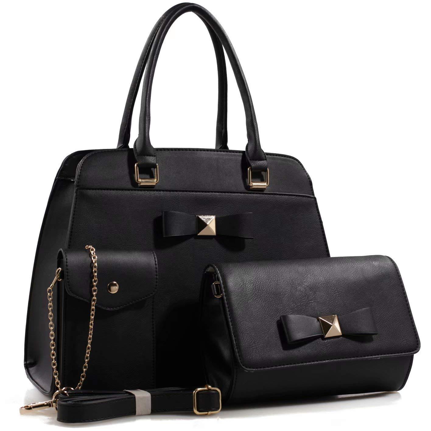 3 Set Linden Crossbody Cellphone Pouch Shoulder Bag Handbag 3 Set Black Vegan Leather Top Handle Tote Handbag Shoulder Bag Wallet Purse
