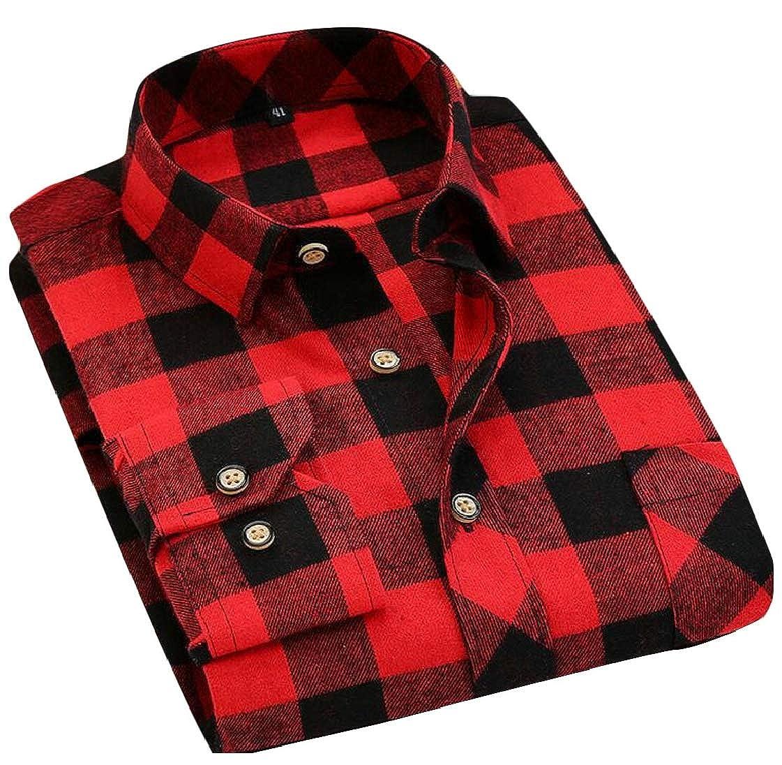 Lutratocro Men Pocket Long Sleeve Flannel Comfortable Lapel Neck Plaid Button Down Shirts