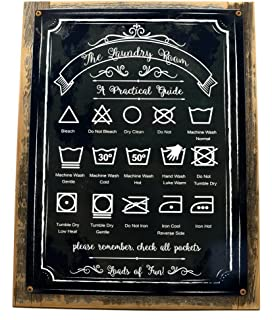 Amazon.com: Laundry Guide Metal Sign, Home Decor, Modern ...