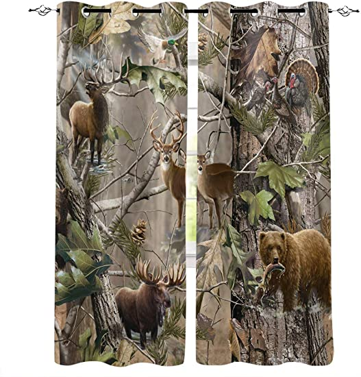 FortuneHouse8 Blackout Curtains Thermal Insulated Camouflage Bear Deer Room Drapes Window Curtain
