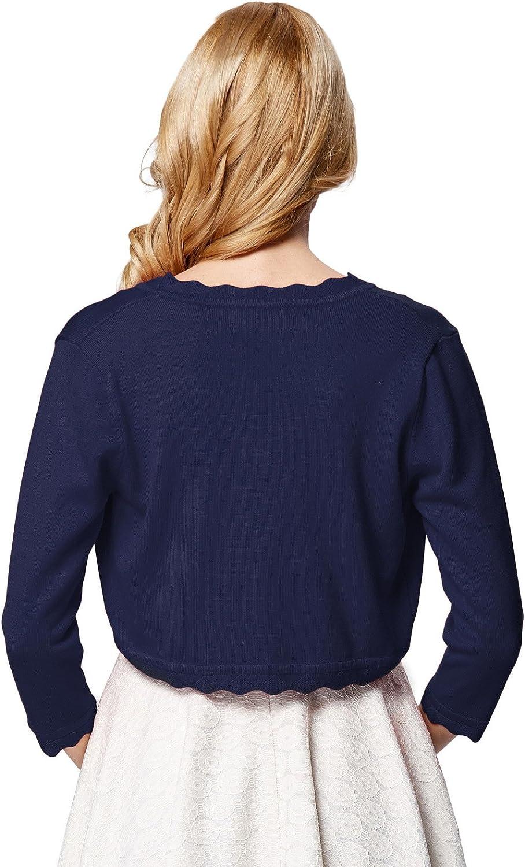 GRACE KARIN Womens Eyelet Trim 3//4 Sleeve One Button Knitting Bolero Shrug
