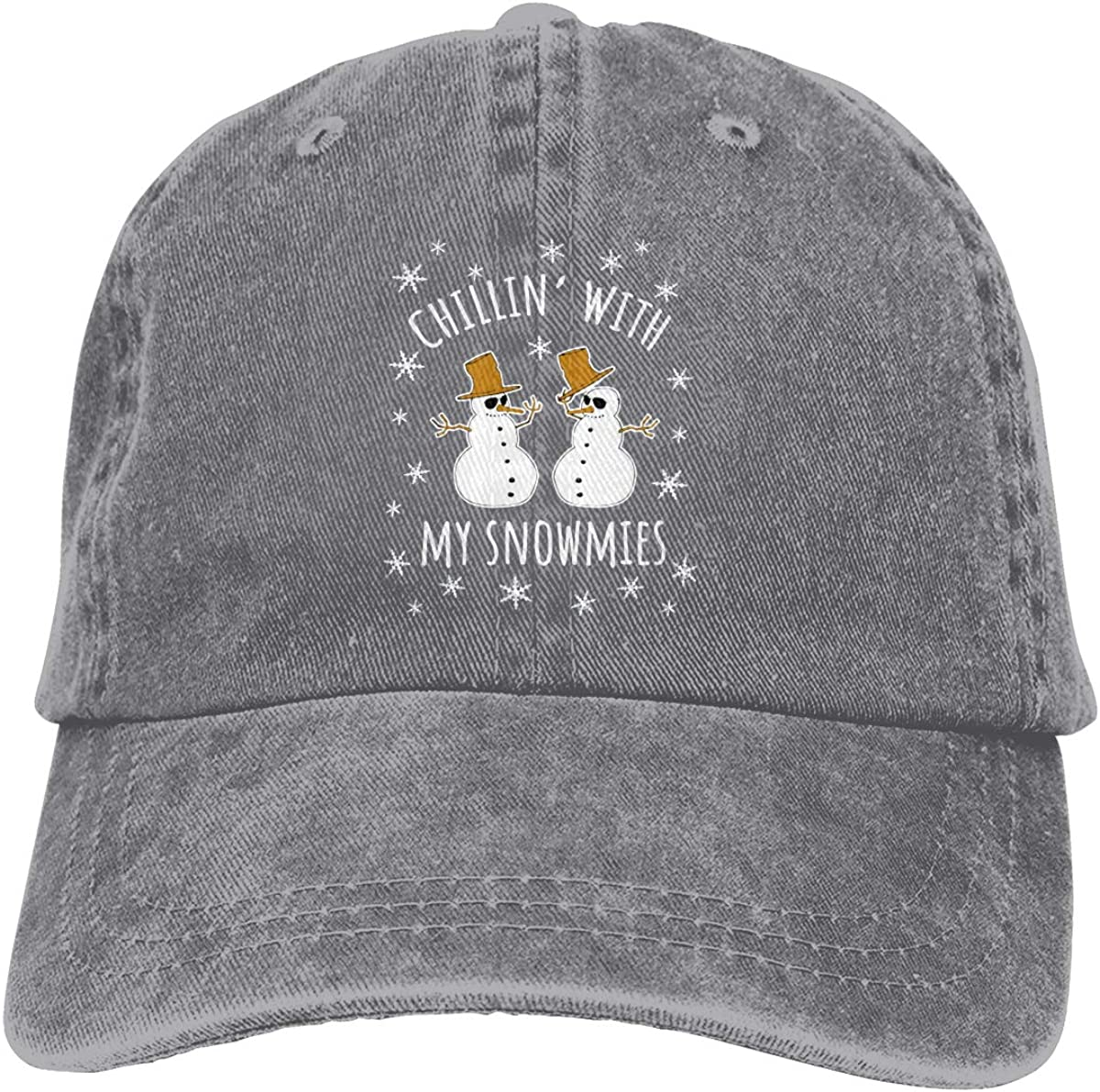 Vbfgtg Chillin with My Snowmies Denim Hats Washed Retro Baseball Cap Dad Hat