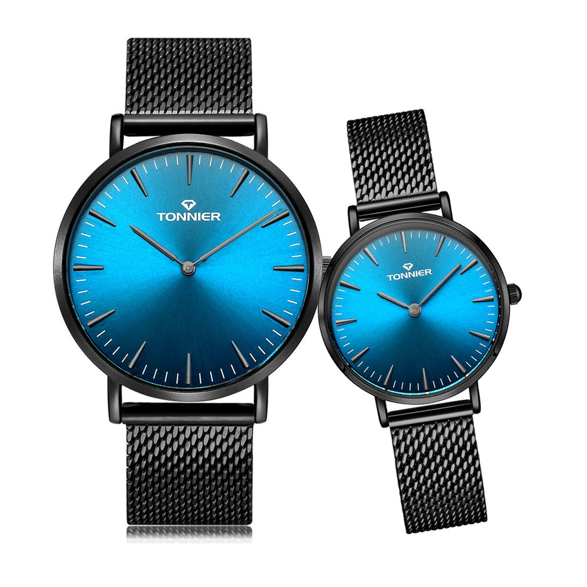 eb7d46241143 Amazon.com  Tonnier Stainless Steel Slim Black Mesh Band Couple Watches His  and Hers Watches for Lovers Set of 2 Deep Blue Face  Tonnier  Watches