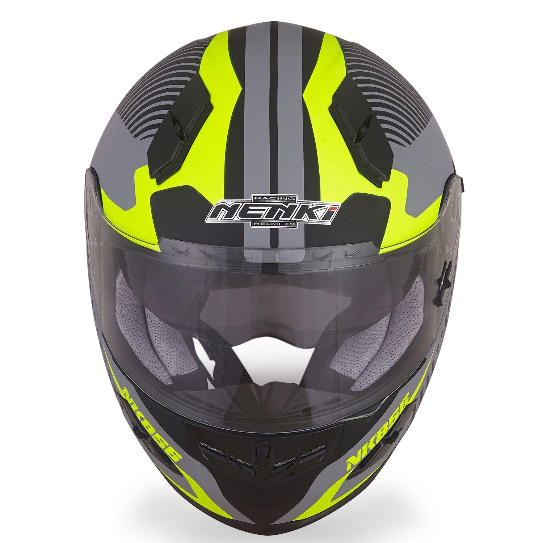 ECE Approved With Dual Visors NENKI Motorbike Helmets NK-856 Full Face Motorcycle Crash Helmets,Fiberglass Shell Medium, Matt Black /& Green