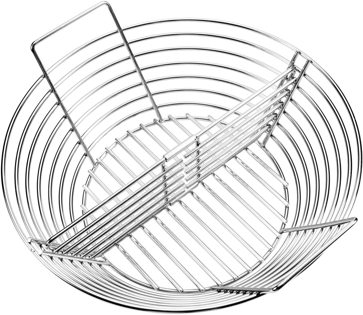 GriAddict Lump Charcoal Basket - Large Big Green Egg Accessories, Stainless Steel Heavy-Duty Construction, Better Airflow, Ash Basket with A Removable Divider, Help You Achieve A Small Area Cooking