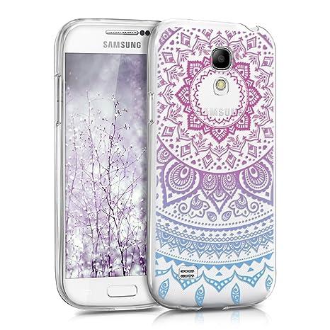 kwmobile Funda para Samsung Galaxy S4 Mini - Carcasa de TPU para móvil y diseño de Sol hindú en Azul/Rosa Fucsia/Transparente
