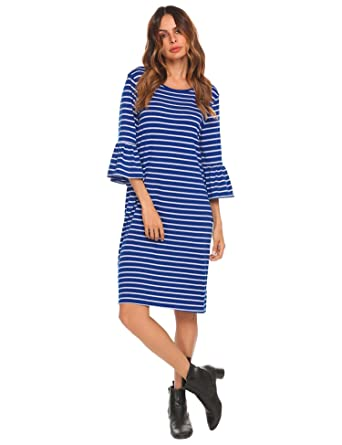 ELESOL Women 3 4 Bell Sleeve Casual Striped Loose T-Shirt Dress at ... 464493f55