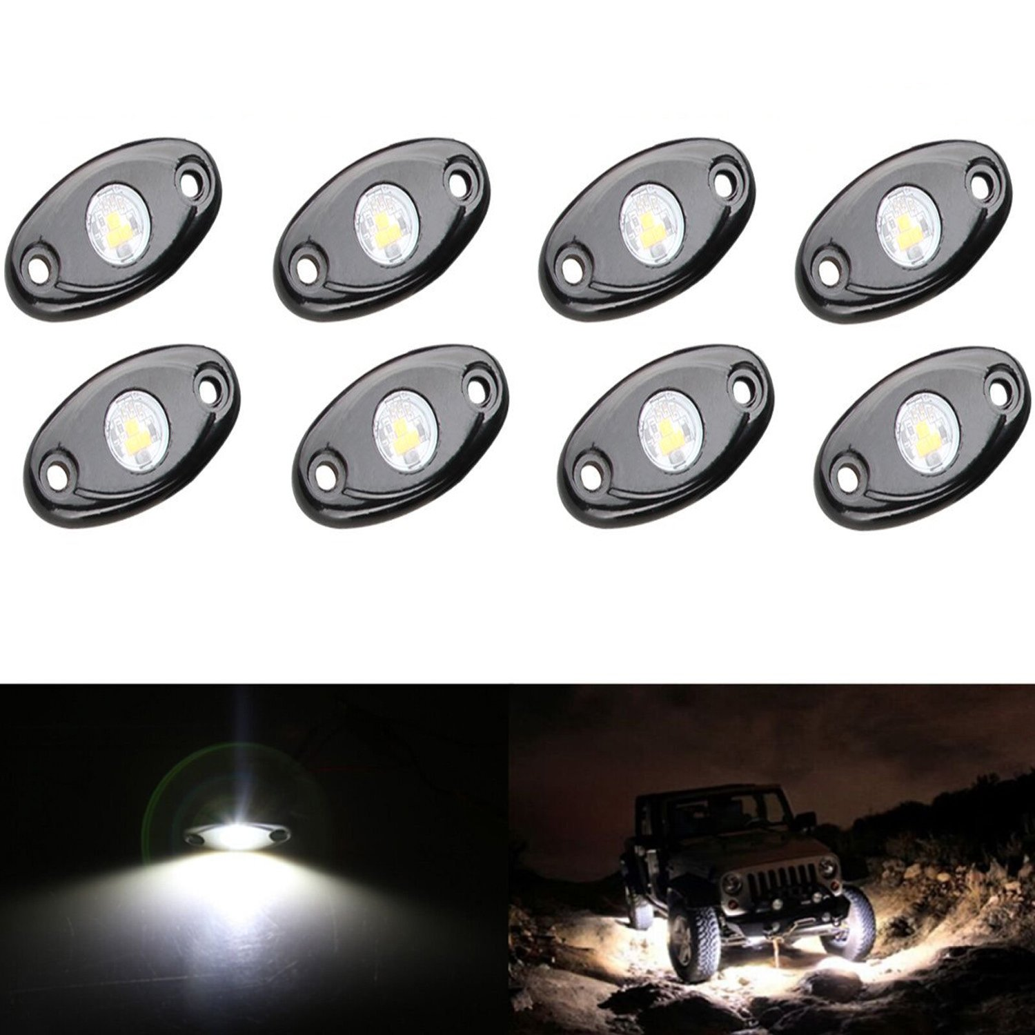 YUK 8X White CREE LED Rock For JEEP ATV 4x4 Off-Road Truck Trail Fender Underbody Lights