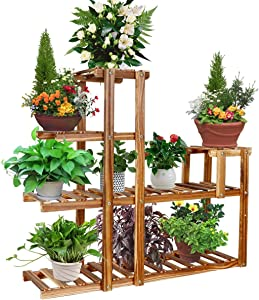 Baodan Wood Plant Stand Rack Indoor, Multi-Tier Stylish Bamboo Flowers Shelf, Plants Storage Tiered Ladder, Corner Plant Stand Steady for Indoor/Home/Living Room/Yard