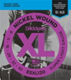 D'Addario ESXL120 Nickel Wound Electric Guitar Strings, Super Light, Double Ball End, 9-42