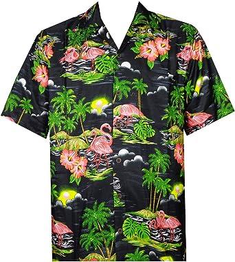 ALVISH - Camisas hawaianas de flamenco rosa para hombre, para playa, fiesta, casual, acampada, manga corta, crucero - Negro - Large: Amazon.es: Ropa y accesorios