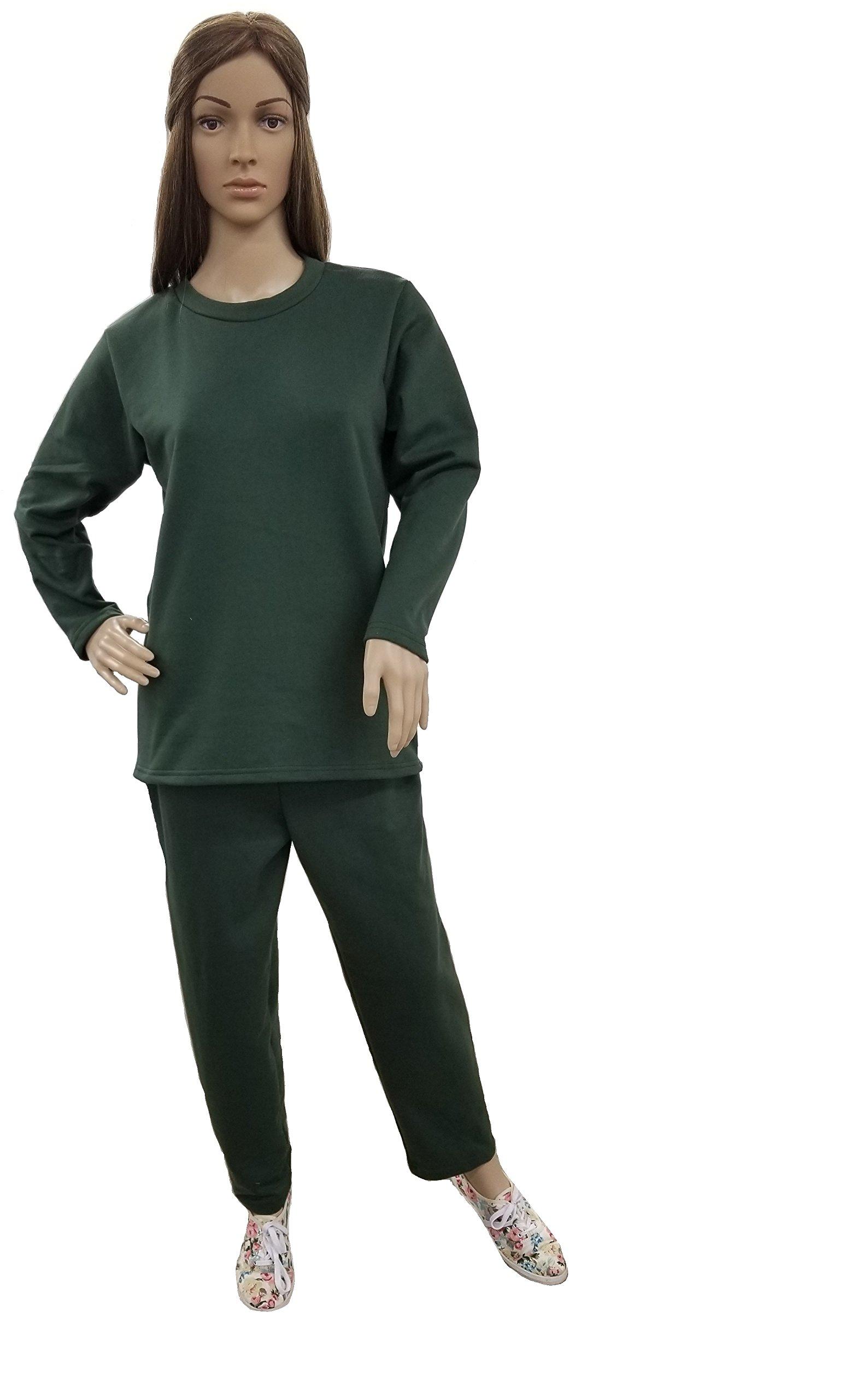 Women's Fleece Sweatsuit Set-Long Sleeve Comfort Fit Side Pocket Design Cotton Blend (2X, Green)