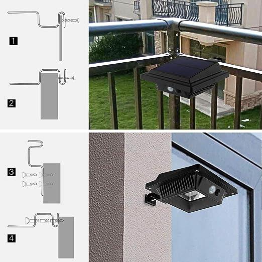 keenzo Canalón, bombilla: Solar Canalón lámpara, 12 ledes, 2 W, Sensor PIR, NEGRO, luz blanca fría, Juego de 6: Amazon.es: Iluminación