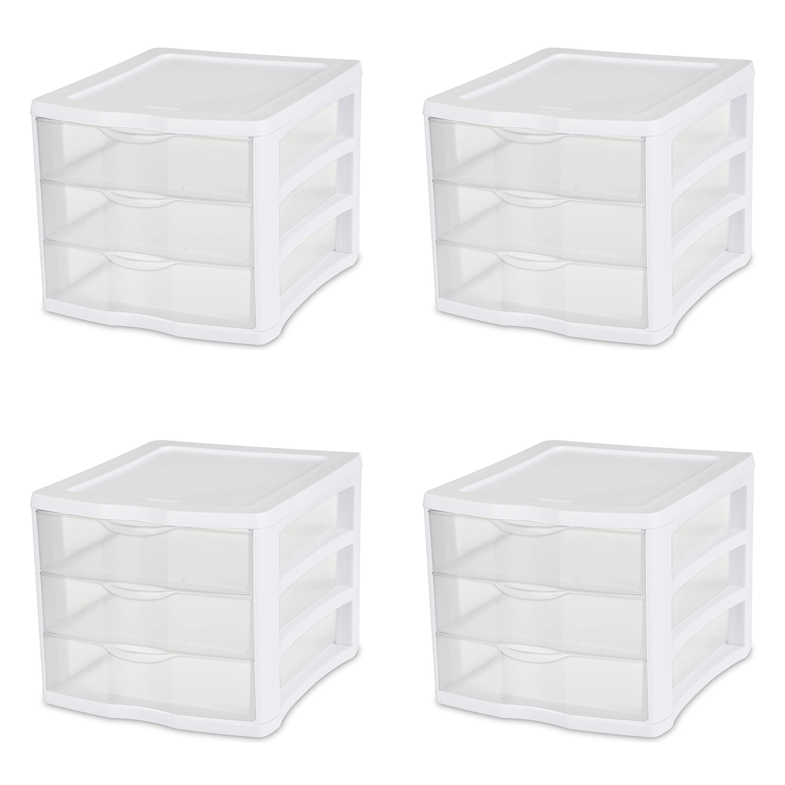 Sterilite 17918004 3 Drawer Unit, White Frame with Clear Drawers, 4-Pack by STERILITE
