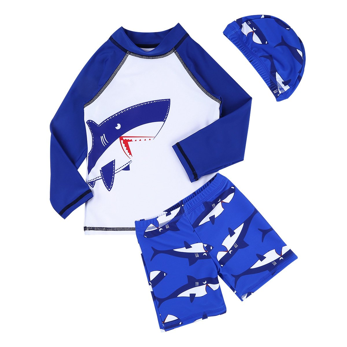 6c4ac26792d5a Freebily Kids Boys Long Sleeve Rash Guard Swimsuit Shark Top Shirt with  Board Shorts Swimming Cap Set: Amazon.co.uk: Sports & Outdoors