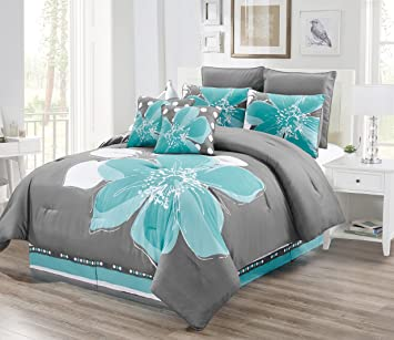 8 - Piece Aqua Blue, Grey, White Floral Comforter Set Queen Size Bedding +  Accent Pillows