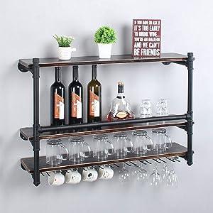 Industrial Wall Mounted Wine Rack,3-Tier Wood Shelf,Wine Bottle with 9 Stemware Glass Rack,Mugs Racks,Bottle & Glass Holder,Display Racks,Home & Kitchen Décor,Black(36 inch,Style B)