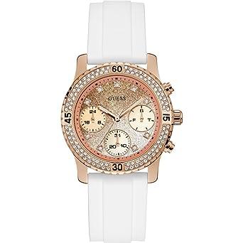 Guess Reloj Analógico para Mujer de Cuarzo con Correa en Silicona W1098L5: Amazon.es: Relojes
