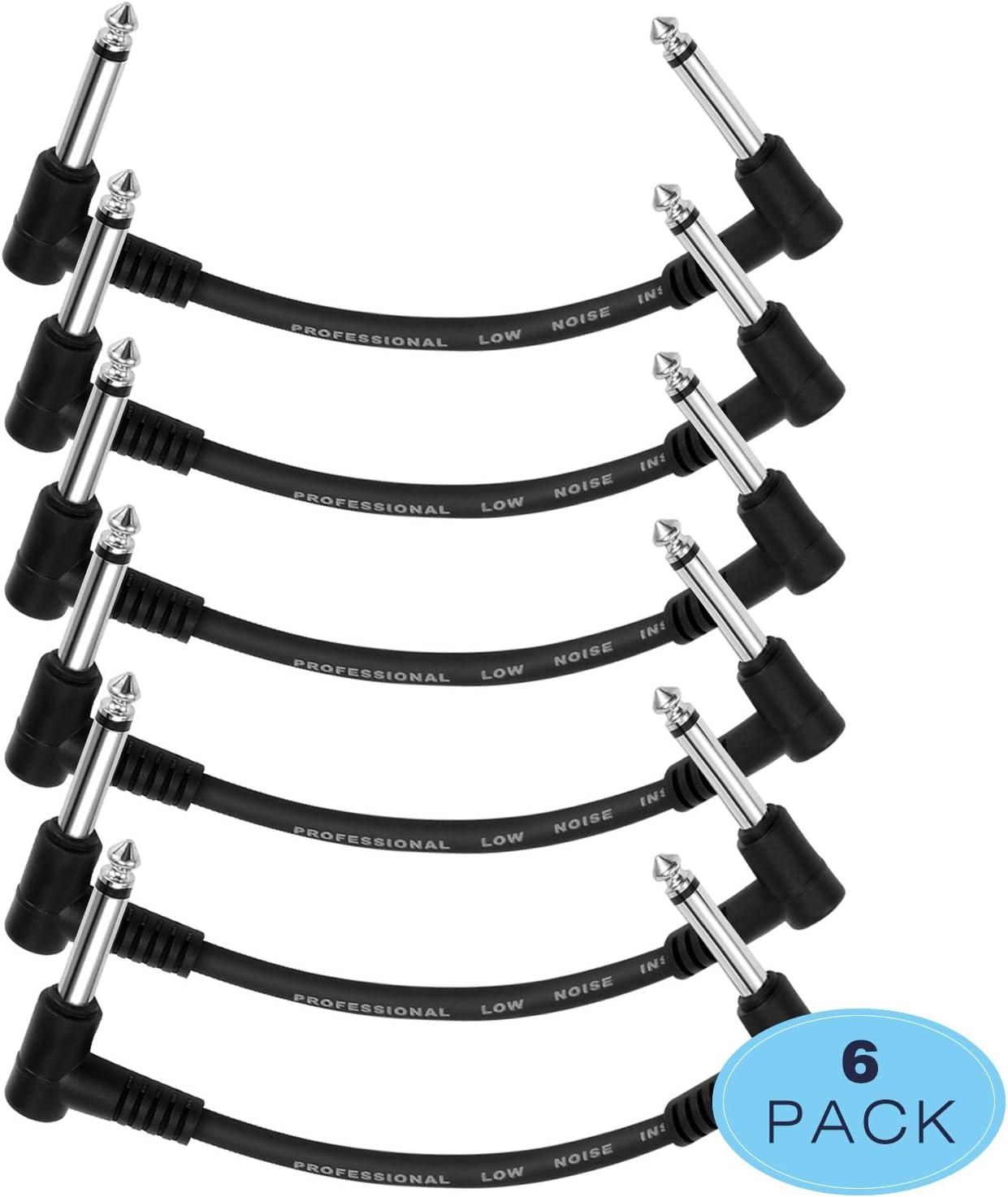 Donner Cable Conexión 15 CM para Guitarra/Pedal de Efectos Negro Pack 6